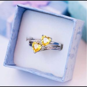 Lovely Hearts Shaped 925 Silver  Ring Citrine